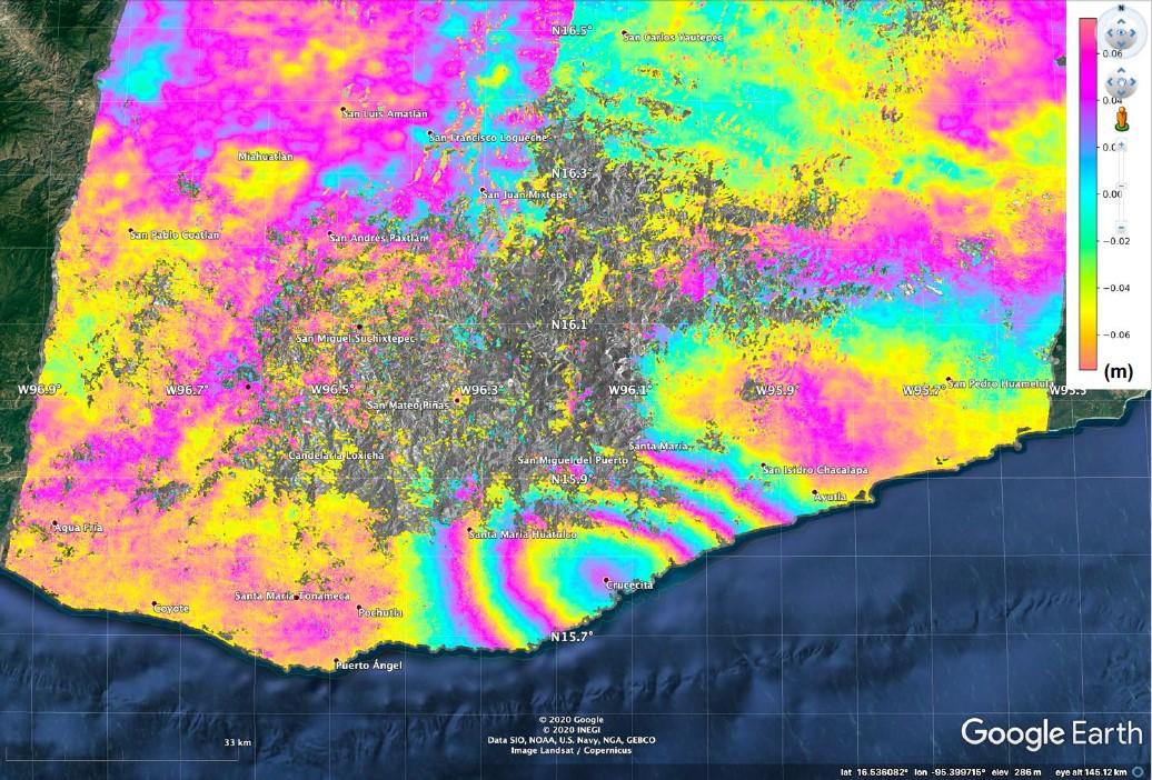 This map produced from JAXA ALOS-2 satellite data shows surface displacement caused by the 7.4 magnitude earthquake in Mexico. Credit: NASA, JAXA Sang-Wan Kim, Batu Osmanoglu, and Min-Jeong Jo