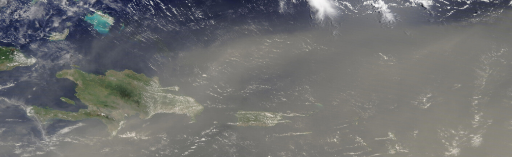 Satellite image of 2020 Saharan Dust storm over Puerto Rico