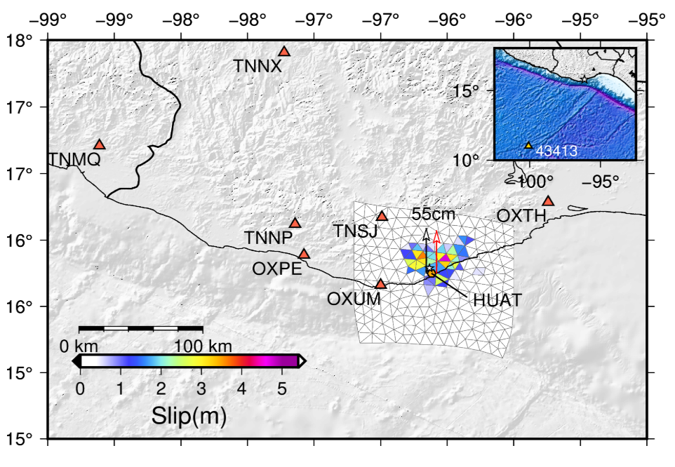 This slip model of the earthquake based on high-rate GNSS data from the TLALOCNet network in Mexico shows the amount of motion at the fault interface during the earthquake. The data were processed by the University of Washington using the TRACK software. Credit: NASA, Diego Melgar