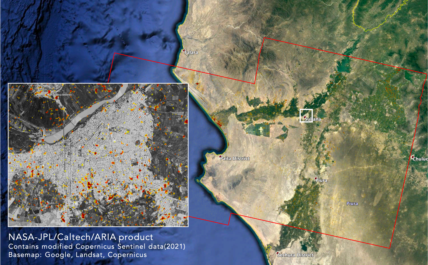 Damage Proxy Map (DPM) from ARIA team at NASA JPL depicting areas that are likely damaged by the recent Mw 6.2 July 30, 2021 earthquake beneath the ESE of Sullana, Peru.