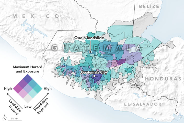 Image of a map showing areas of potential landslide hazards in Guatamala that is featured in the story in the AGU magazine, Eos.
