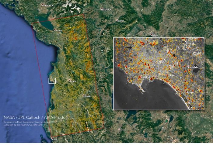 The Advanced Rapid Imaging and Analysis (ARIA) team at NASA's Jet Propulsion Laboratory and California Institute of Technology created this Damage Proxy Map (DPM) depicting areas that are likely damaged as a result of the November 26, 2019 earthquakes in
