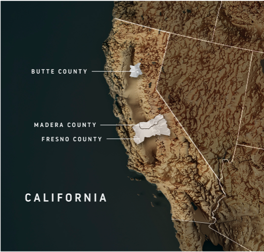 map of three counties in California