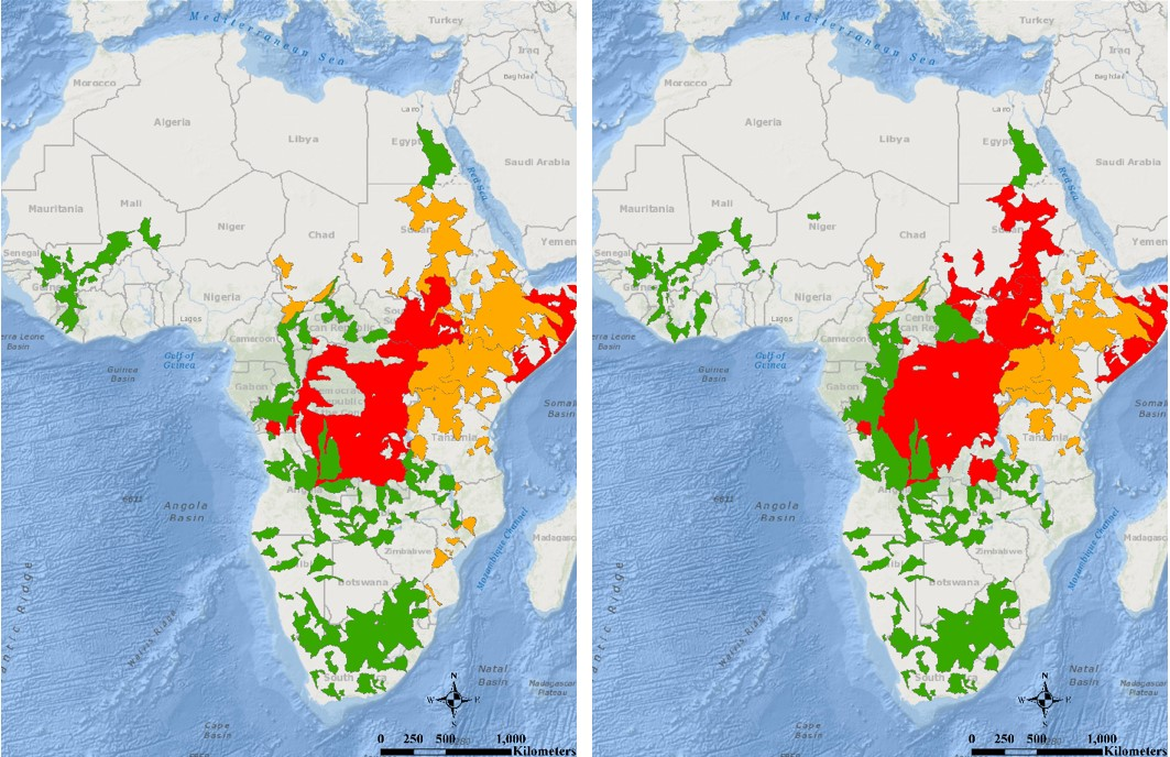 map of flood risk across the African continent