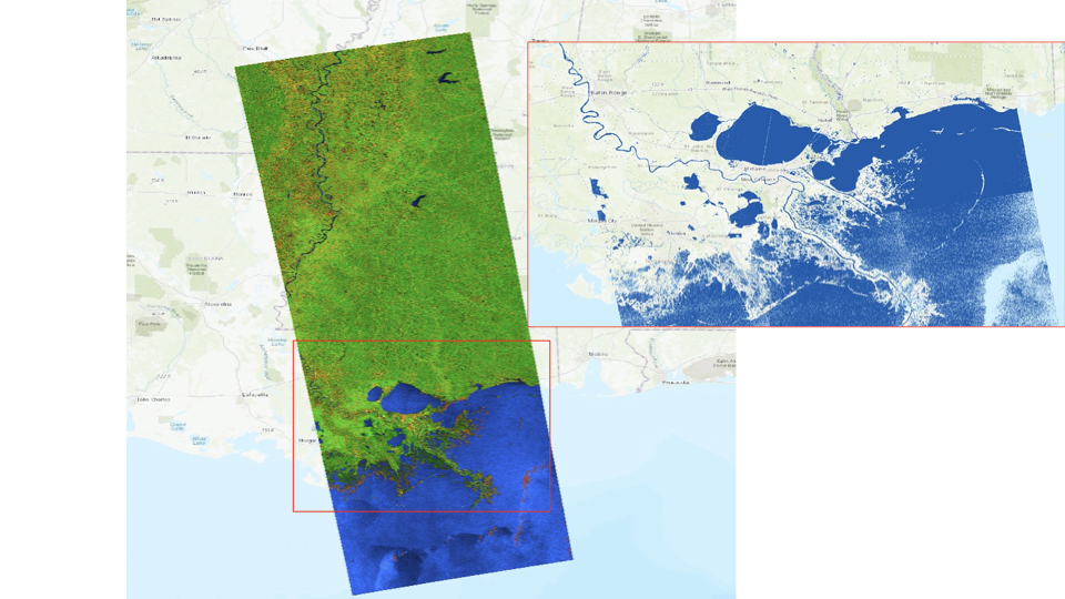 This imagery, derived from ESA Sentinel-1 satellite observations on Aug. 28, 2021, at 7:02 p.m. CDT, provides a look at water conditions in Louisiana before Hurricane Ida made landfall.
