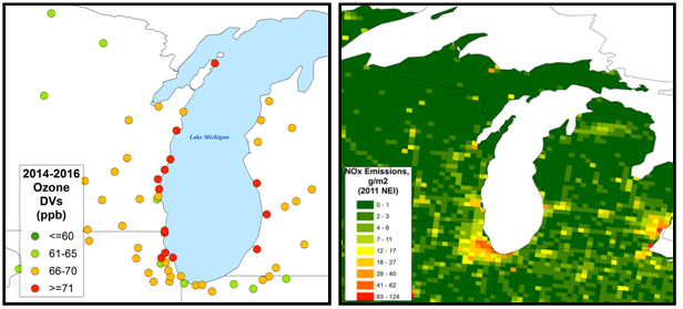 two maps showing ozone concentrations around Lake Michigan