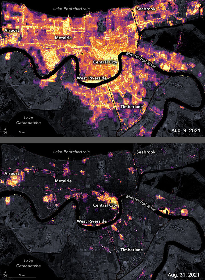 Suomi NPP imagery of power outages in New Orleans.