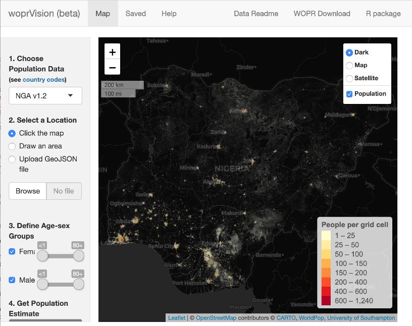 Screenshot of map of Nigeria in web app