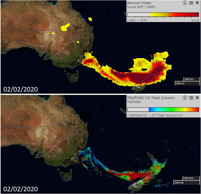 Data from the NASA / NOAA OMPS (above) and ESA /TROPOMI instruments (below) show aerosols and carbon monoxide from the Australia fires spreading across the Tasman Sea. Credit: NASA