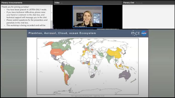 screenshot of woman presenting map