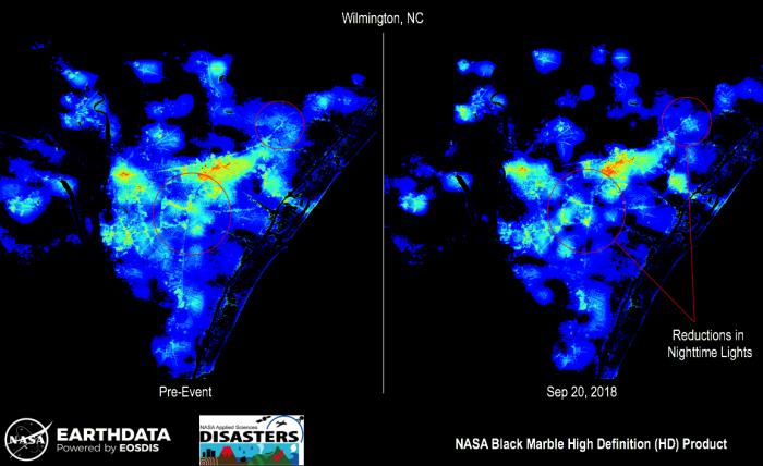 Image of Black Marble nighttime data over Hurricane Florence.