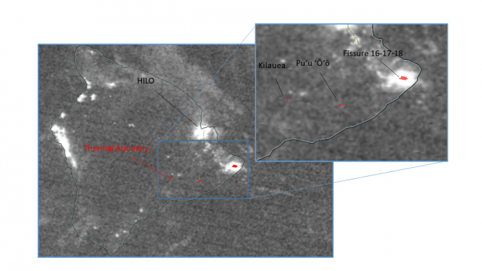 Image of VIIRS Day/Night Band and Thermal Anomalies from the Kilaeua Eruption