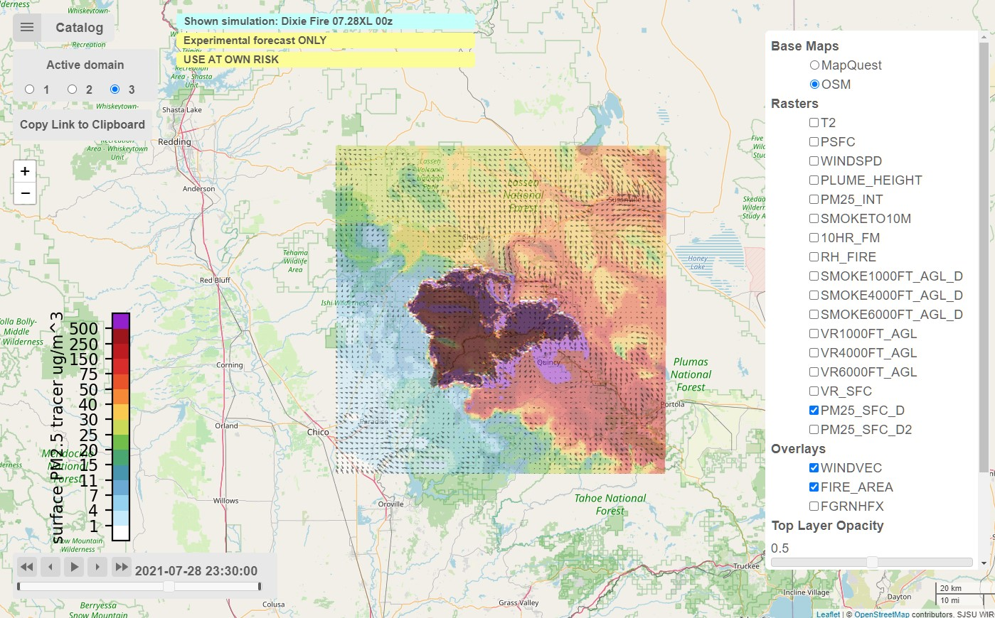 Experimental WRF-SFIRE product showing smoke forecasts from the Dixie fire on July 28, 2021. Increasing smoke concentration is shown in colors from ranging from white to purple, while the region where the fire is burning is shown in in the center as a darker contour. Credits: NASA, San Jose State University (SJSU), University of Colorado Denver (CU Denver) and Colorado State University (CSU)