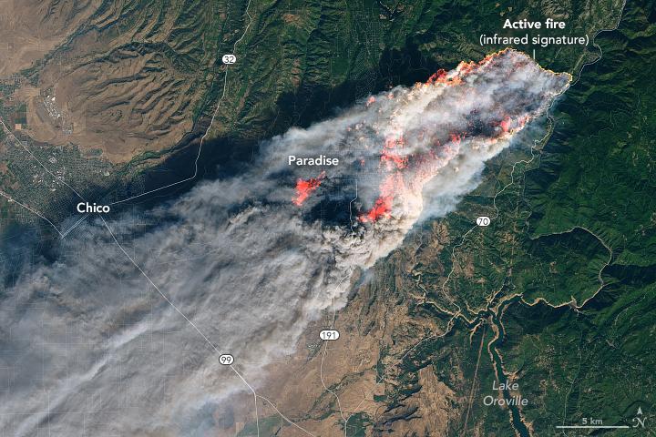 satellite image of smoke over land