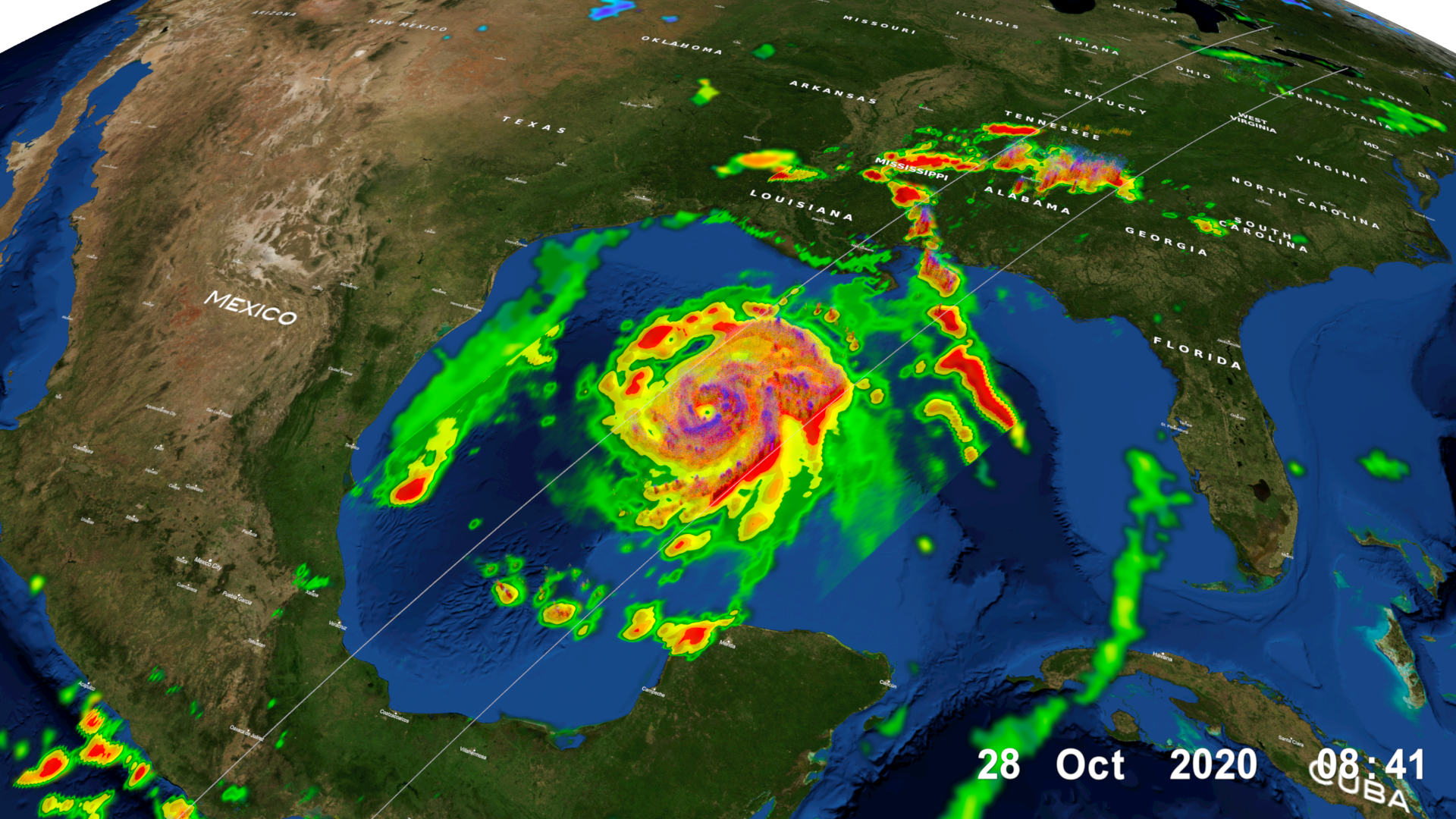 GPM Core Observatory overpass of Tropical Storm Zeta on October 28 at approximately 3:25am CDT (8:25 UTC), showing the structure and intensity of precipitation within the storm. Credit: NASA Goddard Scientific Visualization Studio