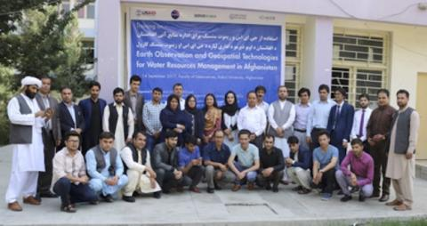 """Participants of the national training on """"Earth Observation and Geospatial Technologies for Water Resources Management in Afghanistan"""", jointly organized by SERVIR-HKH and Kabul University."""