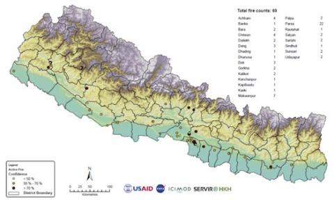 Map generated by the Forest Fire Detection and Monitoring tool on May 1, 2018. Registered users can download forest fire incidence maps that are generated by the system daily. (Photo: ICIMOD)