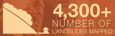 4,300+ number of landslides