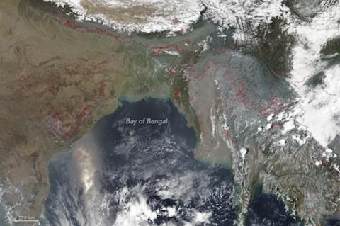 On April 12, 2017, the Visible Infrared Imaging Radiometer Suite (VIIRS) on the Suomi NPP satellite captured this natural-color image of fire and smoke in South and Southeast Asia. https://earthobservatory.nasa.gov/NaturalHazards/view.php?id=90014