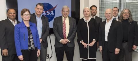 Ashutosh Limaye, NASA Marshall Space Flight Center; Nancy Searby, NASA Headquarters Earth Science Division; Freek van der Meer, University of Twente Faculty of Geo-Information Science and Earth Observation; Michael Freilich, NASA Headquarters Earth Science Division; Erna Leurink, University of Twente Faculty of Geo-Information Science and Earth Observation; Lawrence Friedl, NASA Earth Science Division; Dan Irwin, NASA Marshall; Andy Parks, NASA Headquarters Office of International and Interagency Relations; Ray French, NASA Marshall.