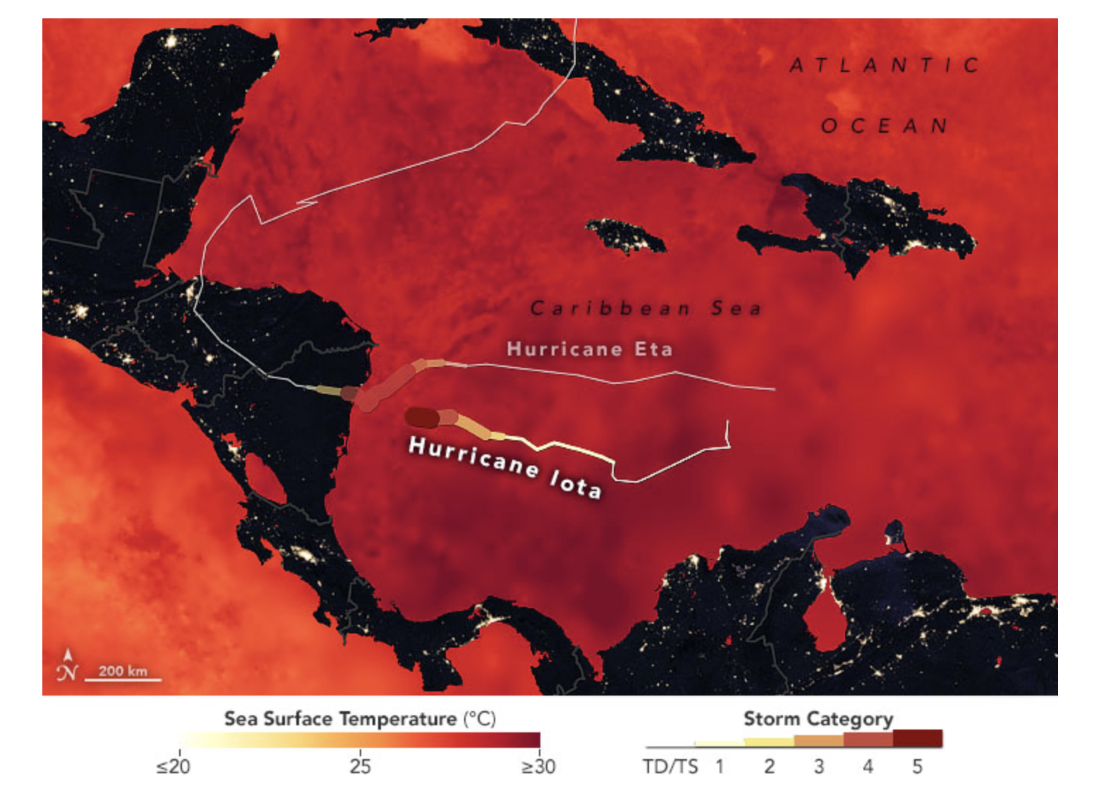 A map showing the tracks of Hurricane Iota and Hurricane Eta overlaid on a map of sea surface temperatures in the Caribbean Sea and the Gulf of Mexico as measured on Nov. 15, 2020.
