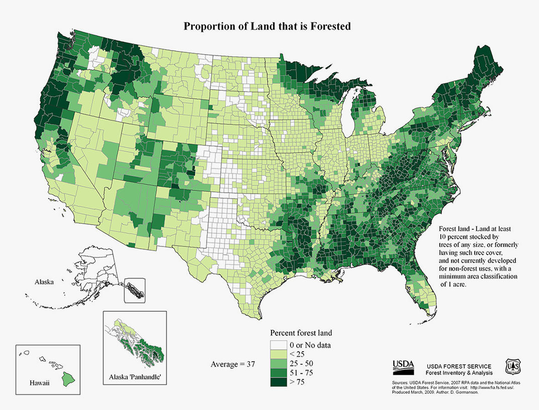 Map of the United States showing the proportion of land that is forested.