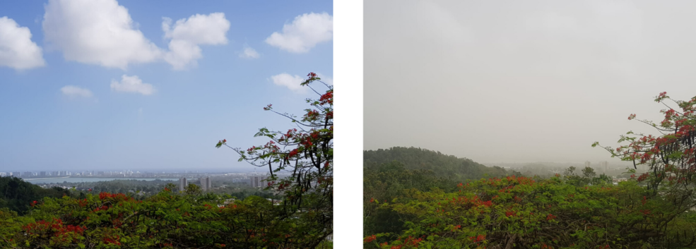 two images comparing a clear blue sky over a city and a hazy sky