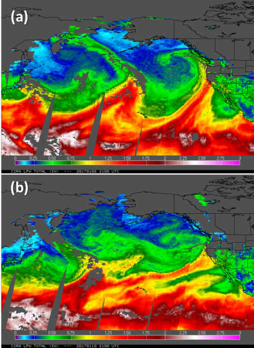 Image of side by side precipitable water product