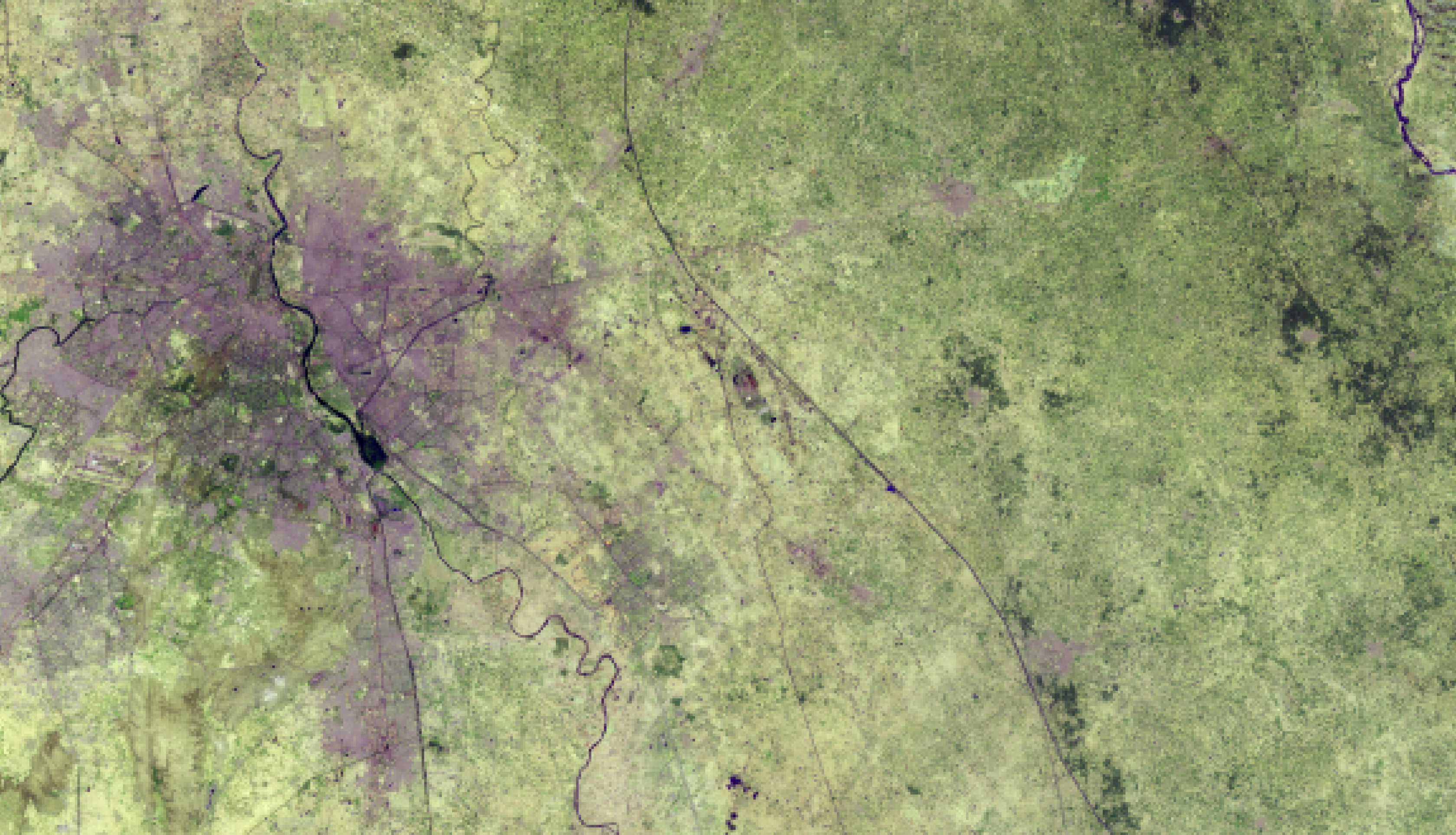 False-color image of New Delhi, India. The header image uses a 2018 image acquired by Landsat 8 OLI (bands 7,6,4)