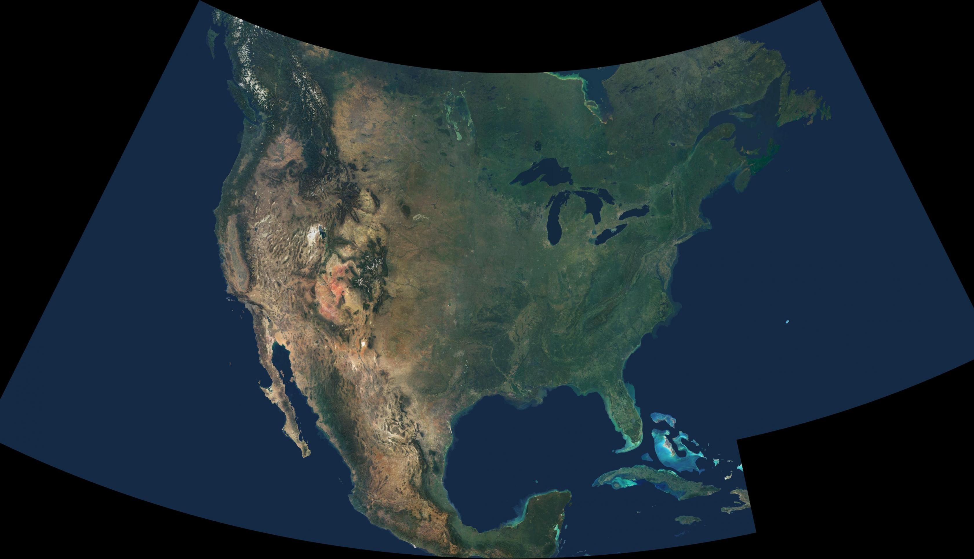 A natural-color image showing cloud-free data from over 500 satellite images of the United States.