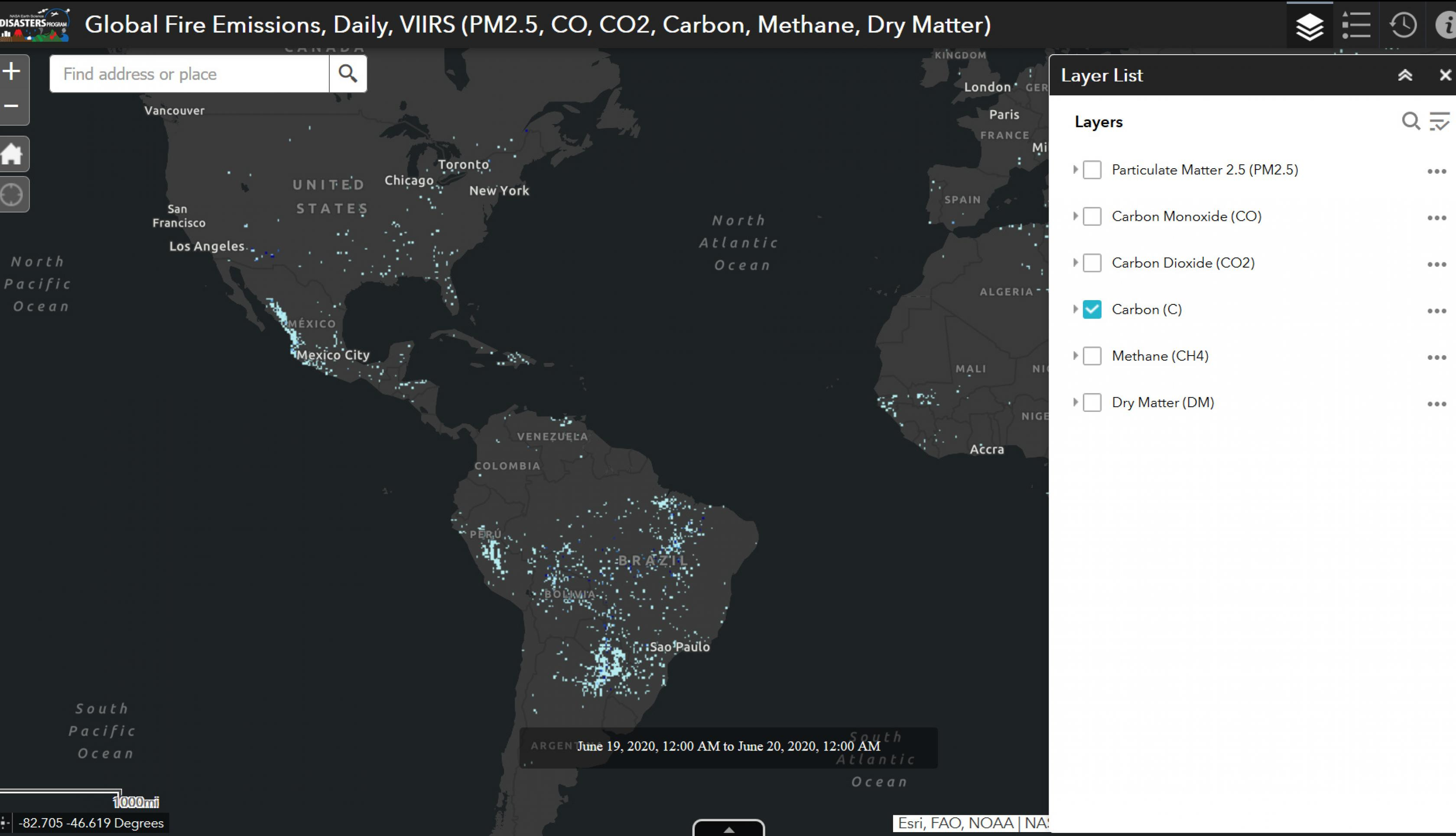 Screenshot of Near real-time fire emissions products from the NASA Disasters Mapping Portal
