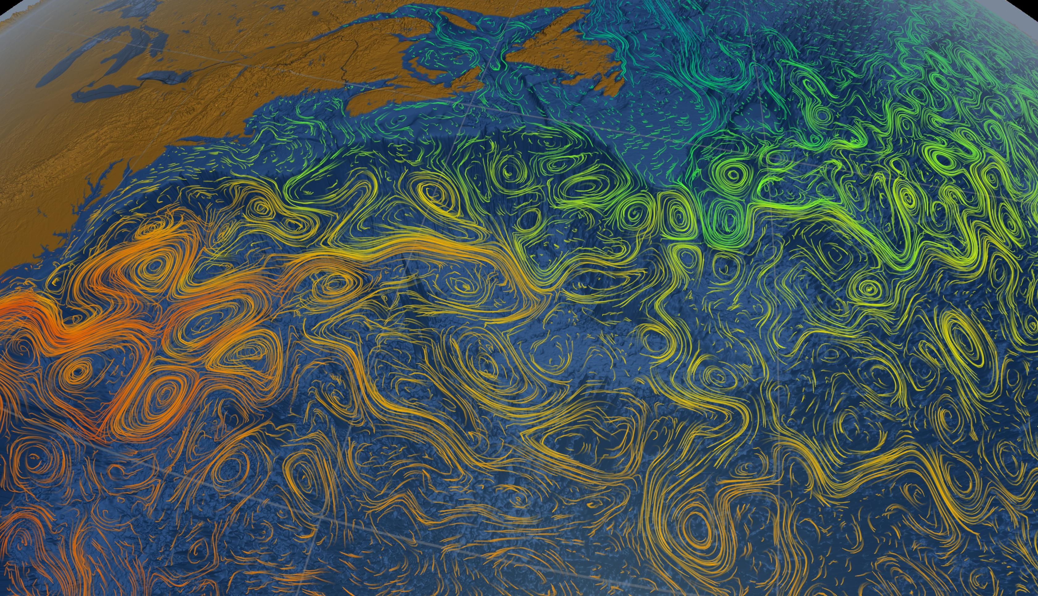 Data visualization of sea surface currents and temperatures
