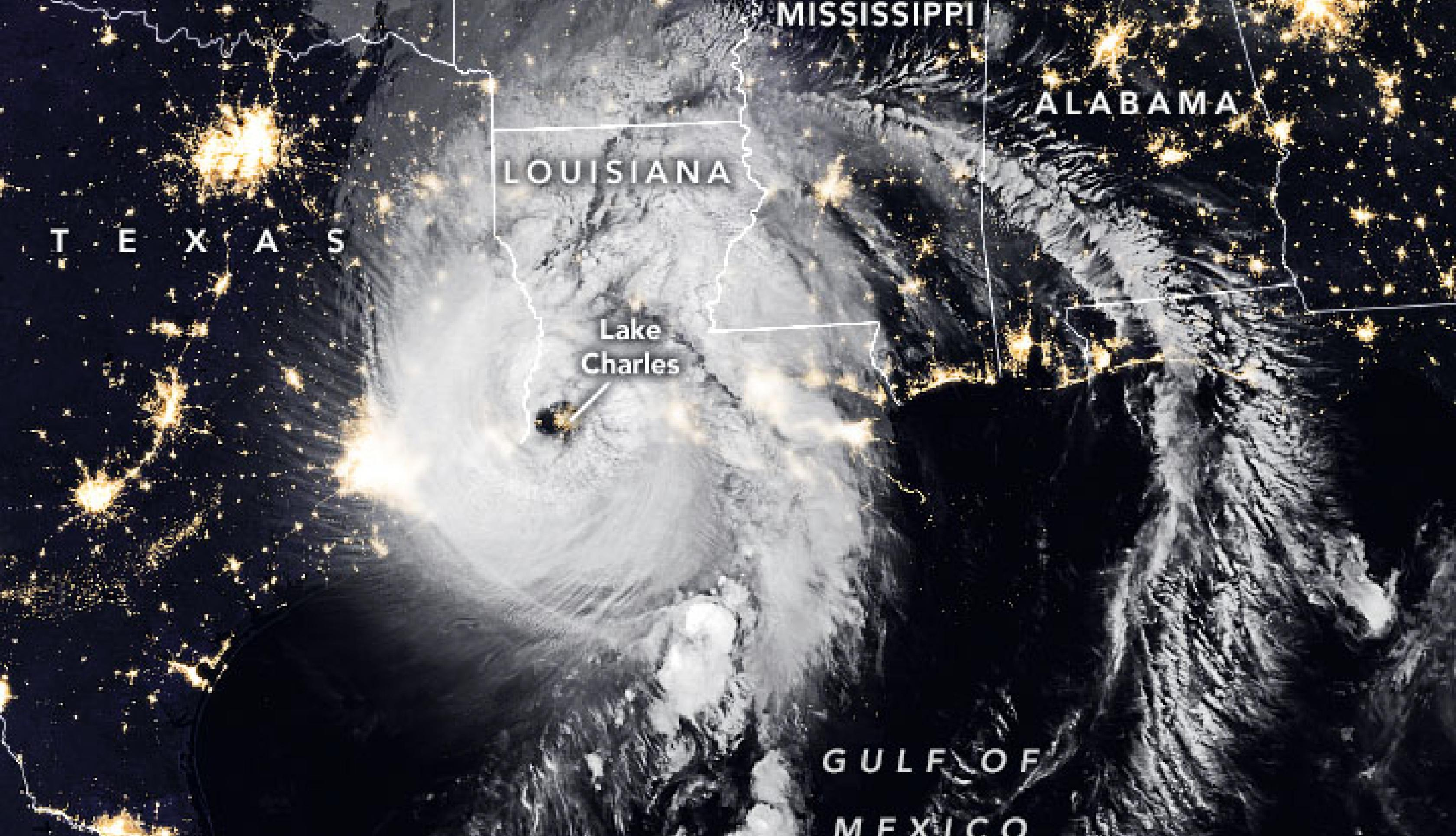 The Visible Infrared Imaging Radiometer Suite (VIIRS) onboard the NOAA-20 satellite acquired this image of Hurricane Laura at 2:50 a.m. CT on August 27, 2020, about two hours after the storm made landfall. Clouds are shown in infrared using brightness temperature data, which is useful for distinguishing cooler cloud structures from the warmer surface below. That data is overlaid on composite imagery of city lights from NASA's Black Marble dataset. Credit: NASA Earth Observatory