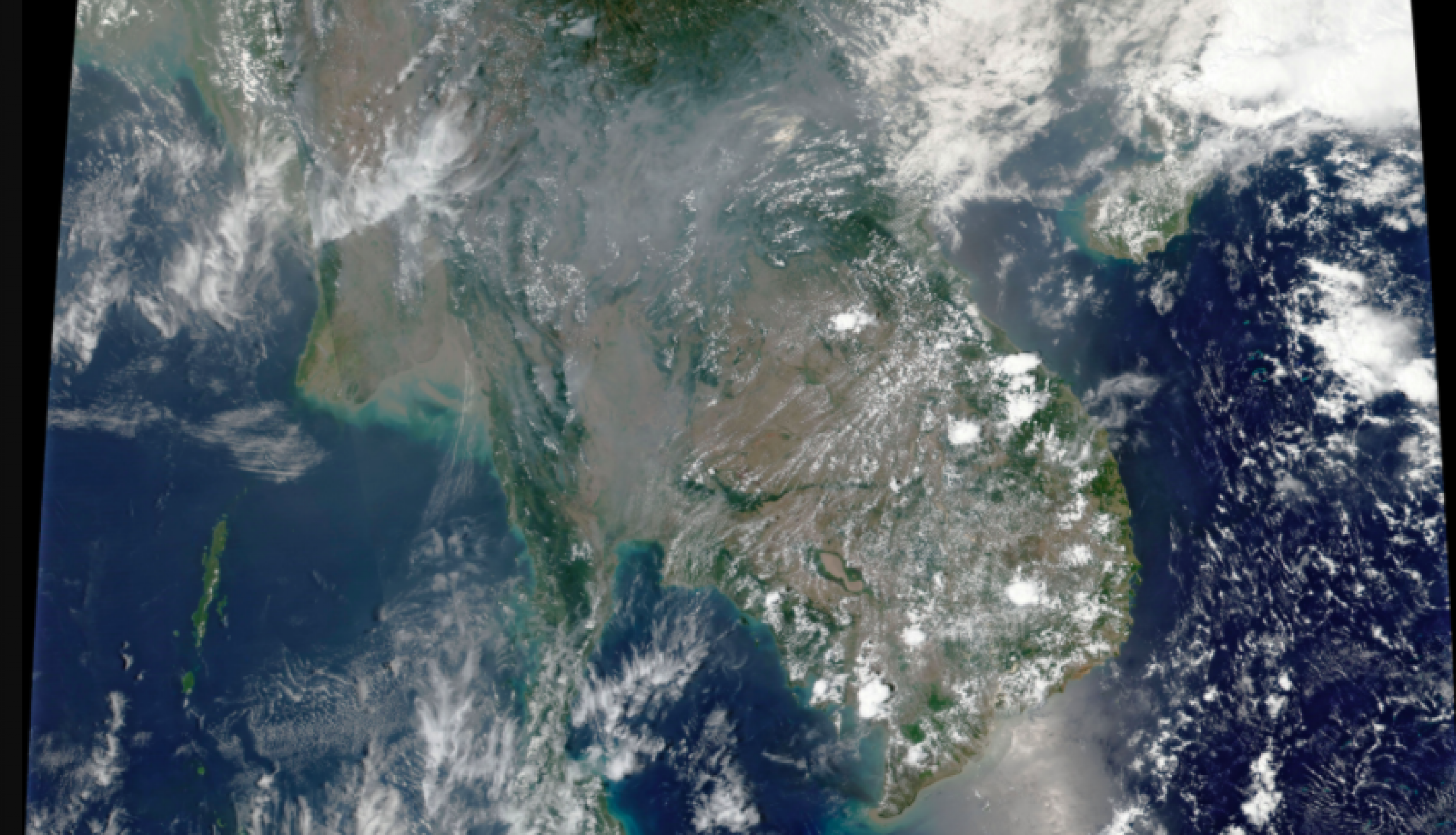 satellite image of smoke over Thailand in April 2019