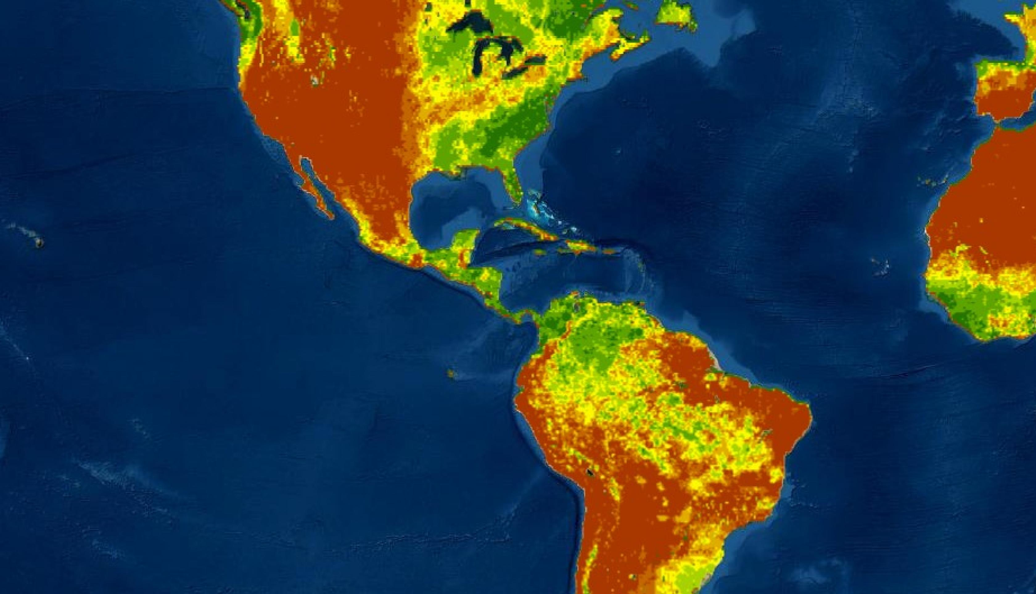 Map of soil moisture for the Americas