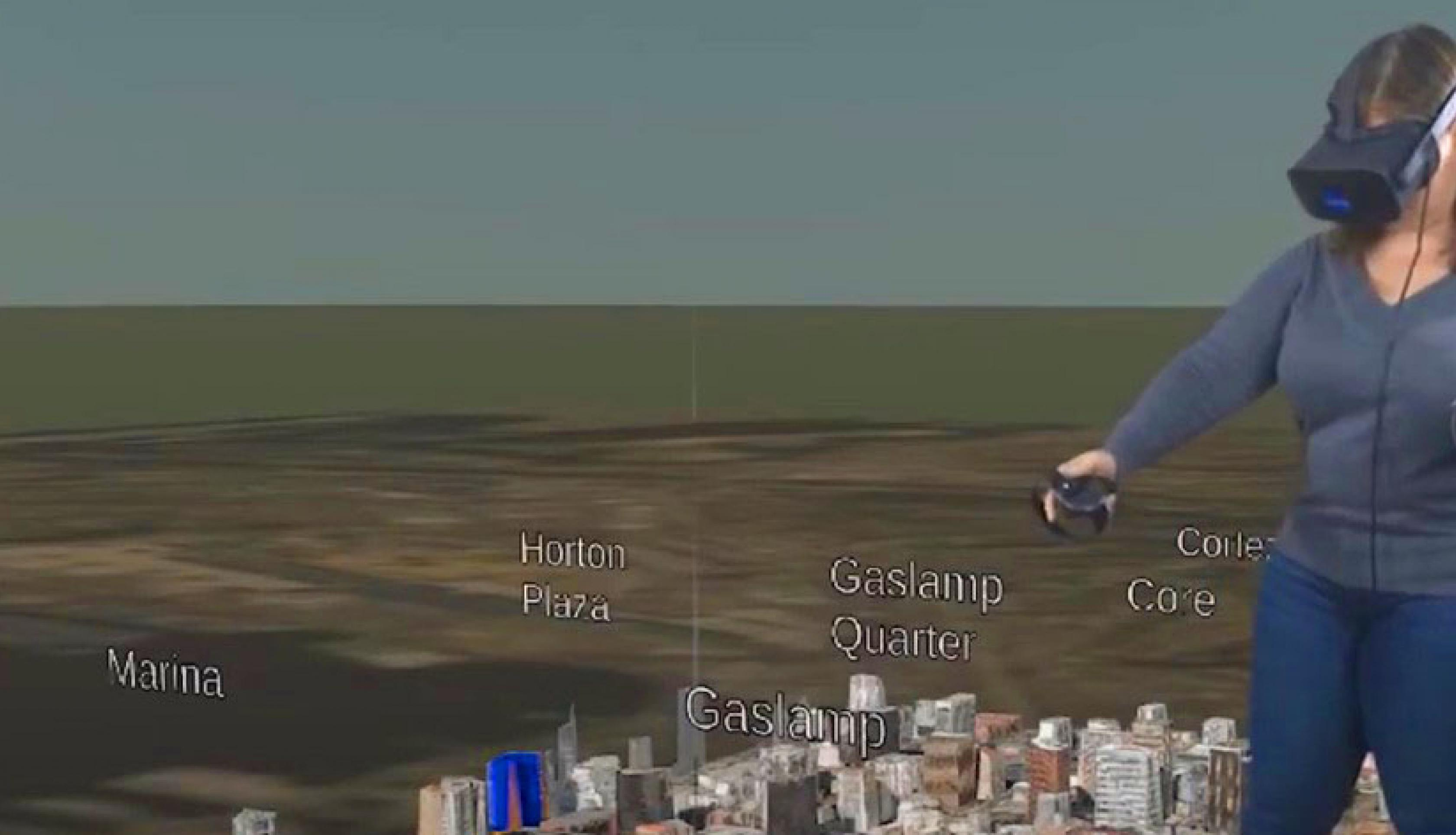 Shayna Skolnik, founder and CEO of Navteca, demonstrates visualizing GIS and disaster application data in virtual reality.