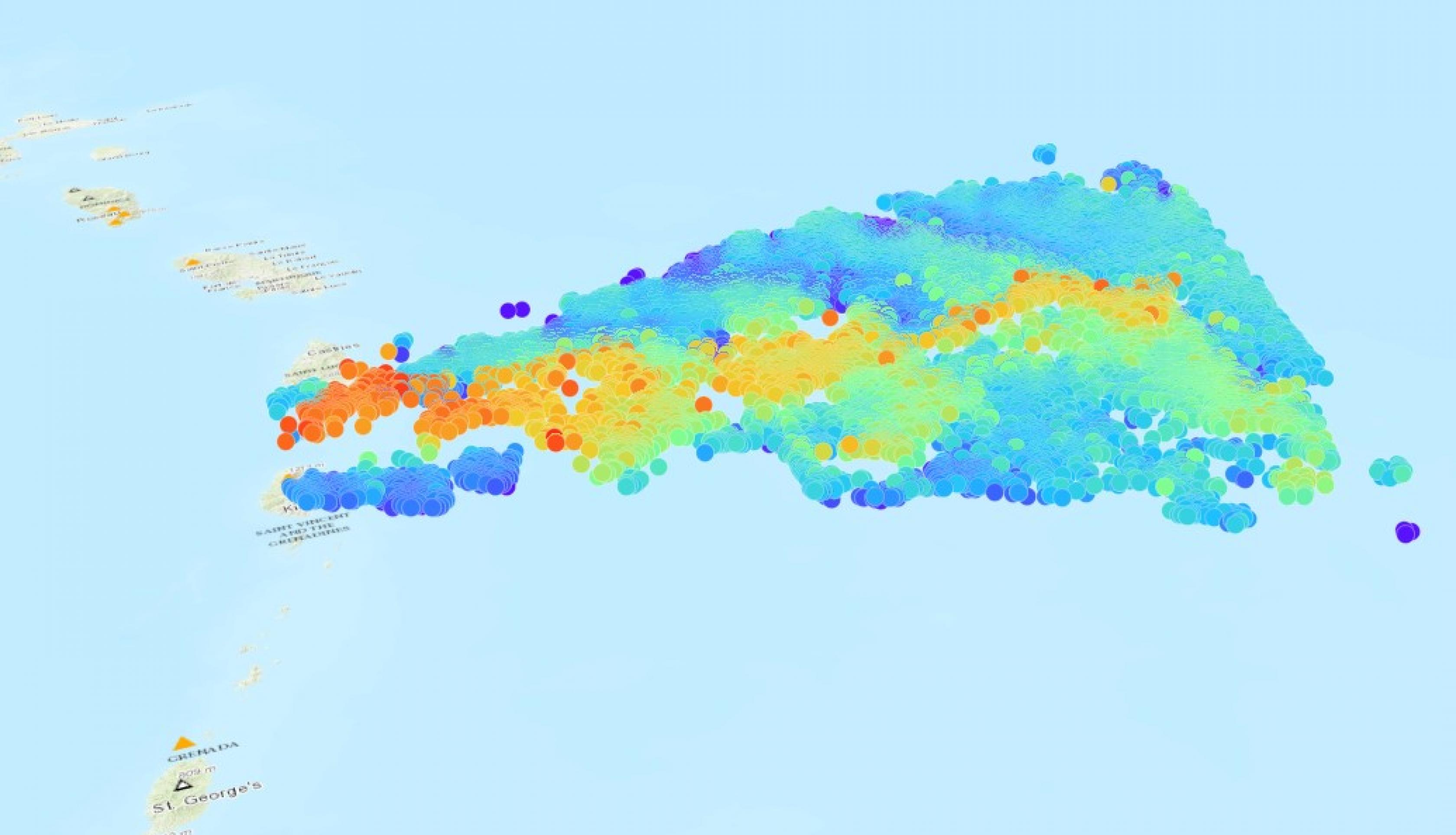 3D MISR data from the La Soufriere eruption
