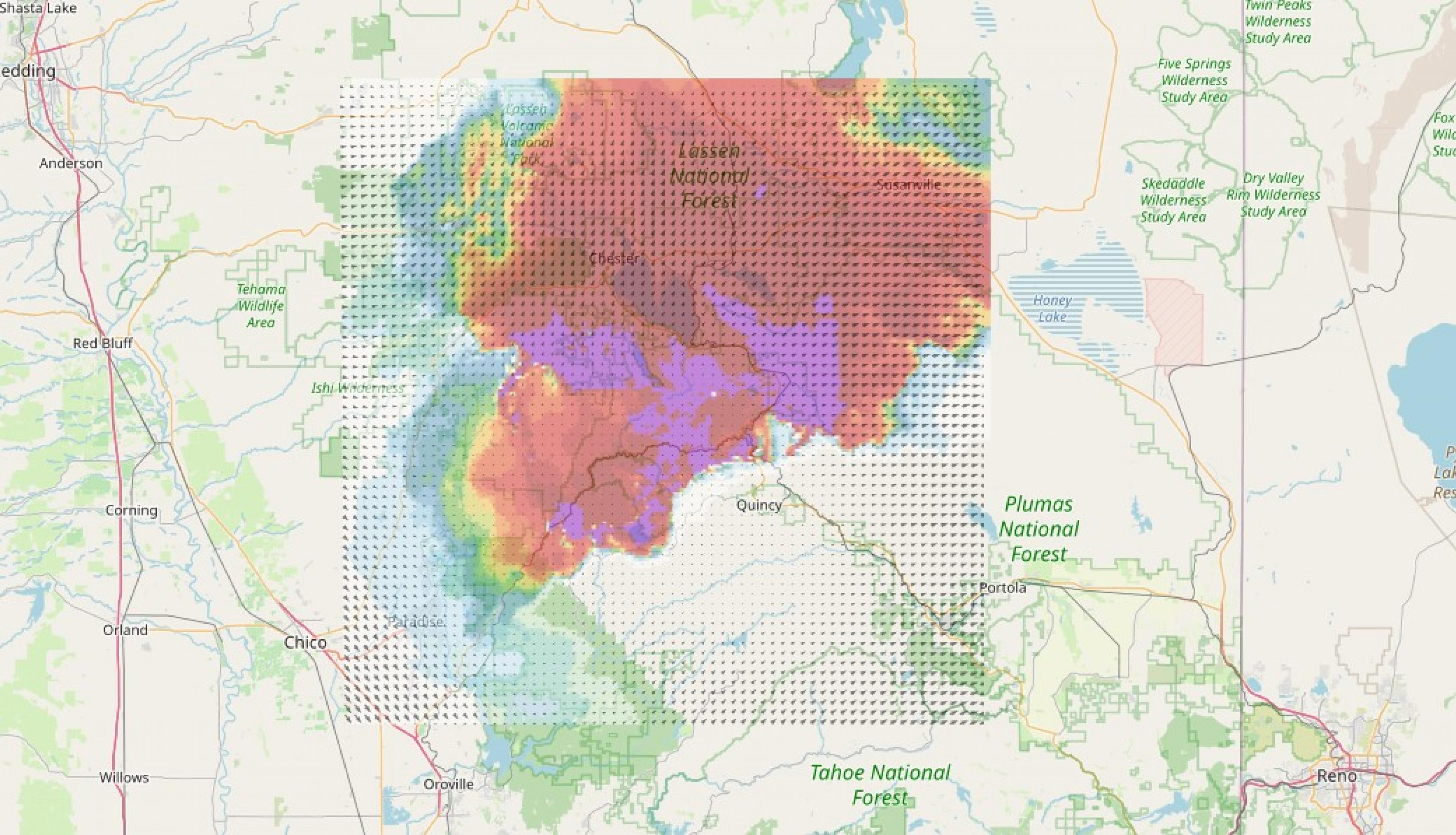 Smoke forecast from the WRF-SFIRE project.
