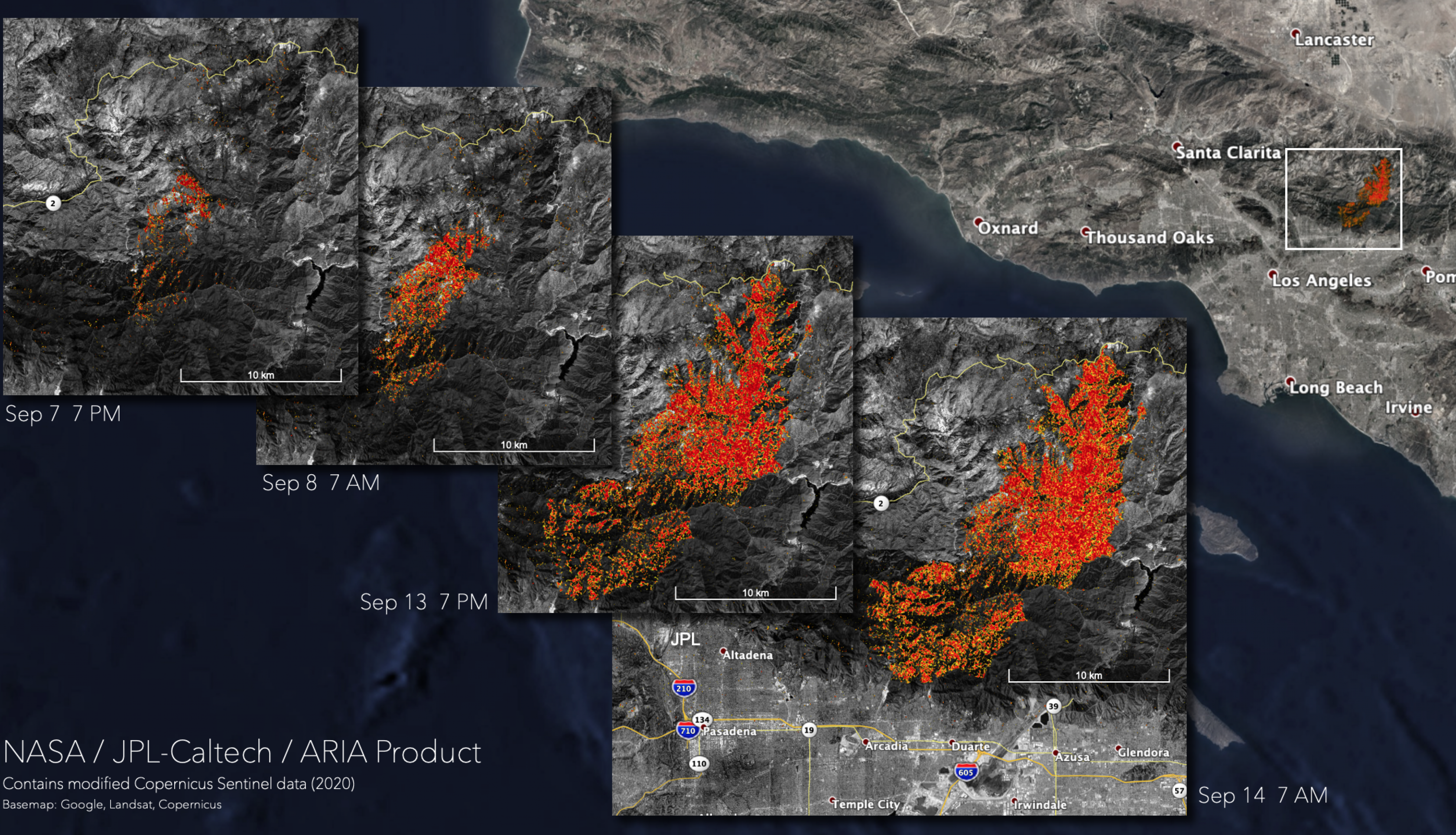 Map showing likely damaged areas in Angeles National Forest on September 7th, 8th, 13th, and 14th.