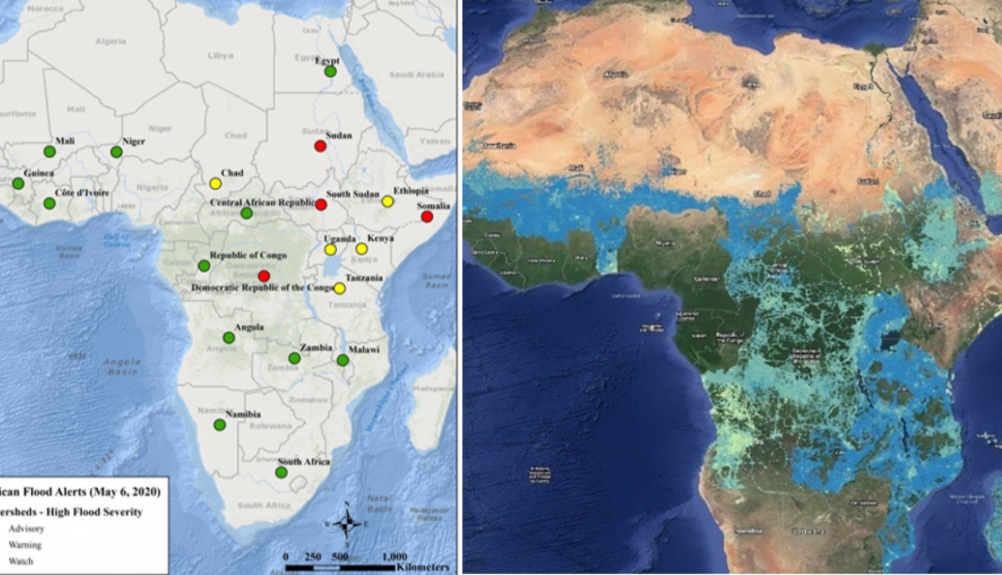 comparison of flood warnings with satellite flooding data over the African continent