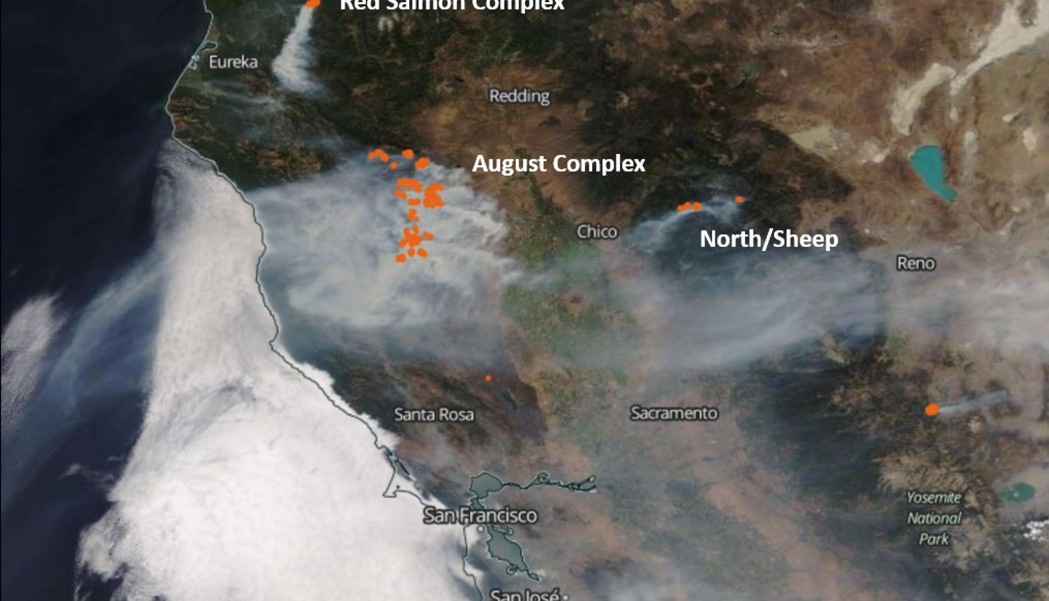 MODIS data from California fires