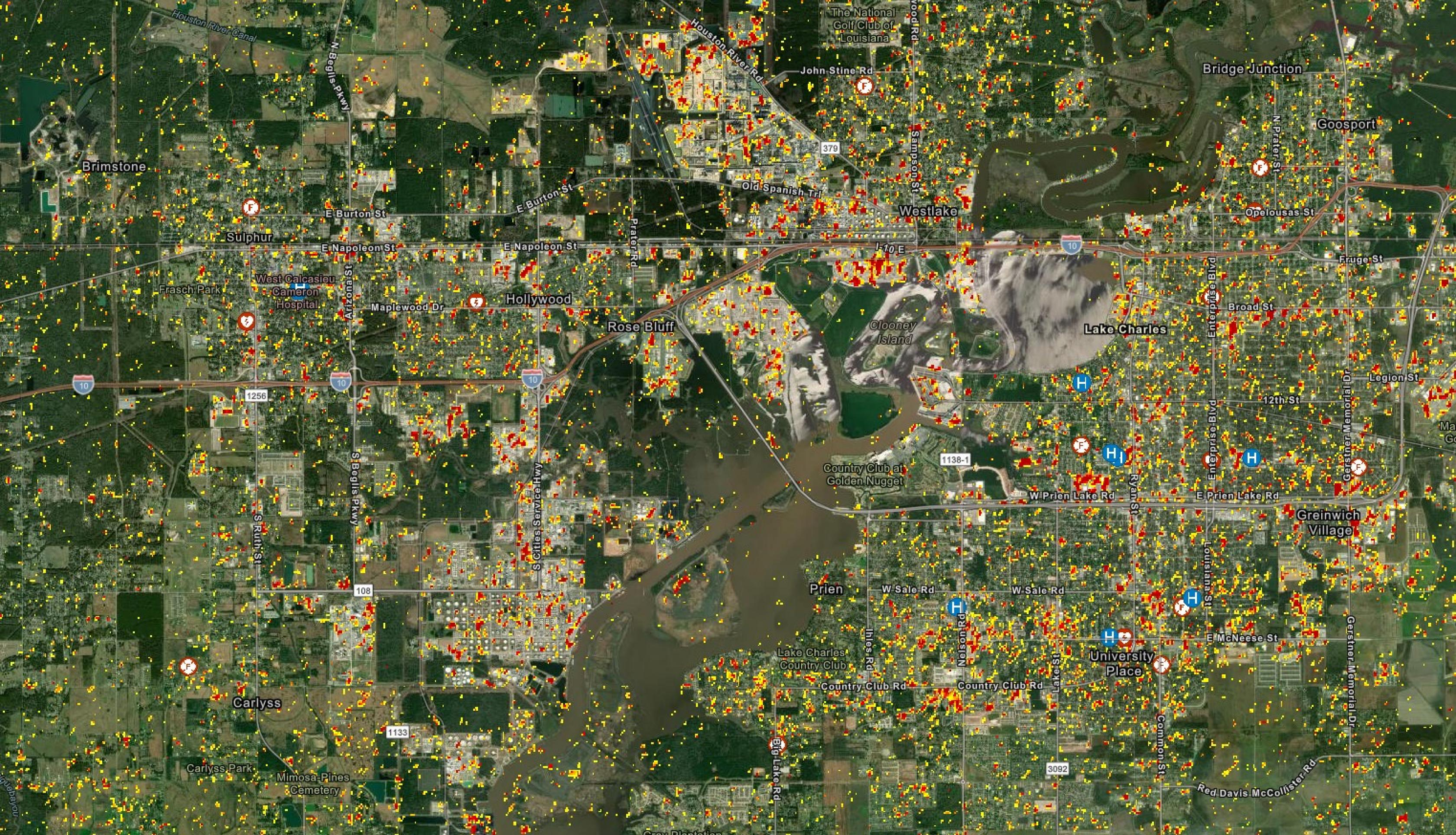 This Damage Proxy Map (DPM) shows likely damaged areas in red and yellow in Lake Charles, LA, due to high winds and flooding from Hurricane Laura. The map is derived from synthetic aperture radar (SAR) data acquired by European Space Agency (ESA) Copernicus Sentinel satellites before (Aug. 20, 2021) and after (Sep. 1, 2021) the event. Satellite observations can be combined with data on local infrastructure and lifelines, such as the roads, hospitals and fire stations shown here, to help local response agenc