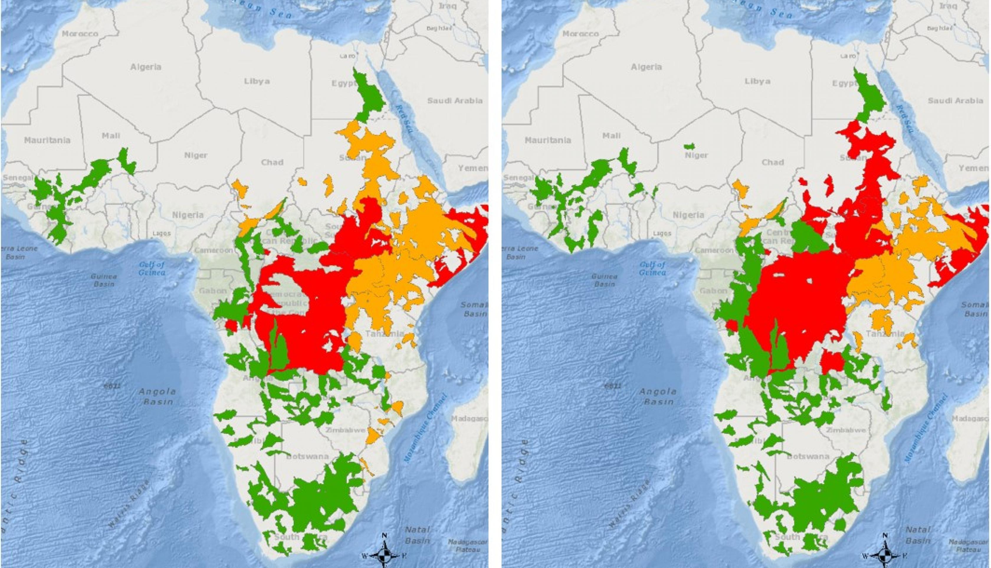 These maps from Glasscoe's project indicate flood advisory warnings from May 5 and 6, 2020. Red represents flood warnings, orange shows flood watches, and green shows flood advisories that depict an increasing flooding likelihood across the Congo and Sudan. Credits: NASA / Margaret T. Glasscoe (JPL)