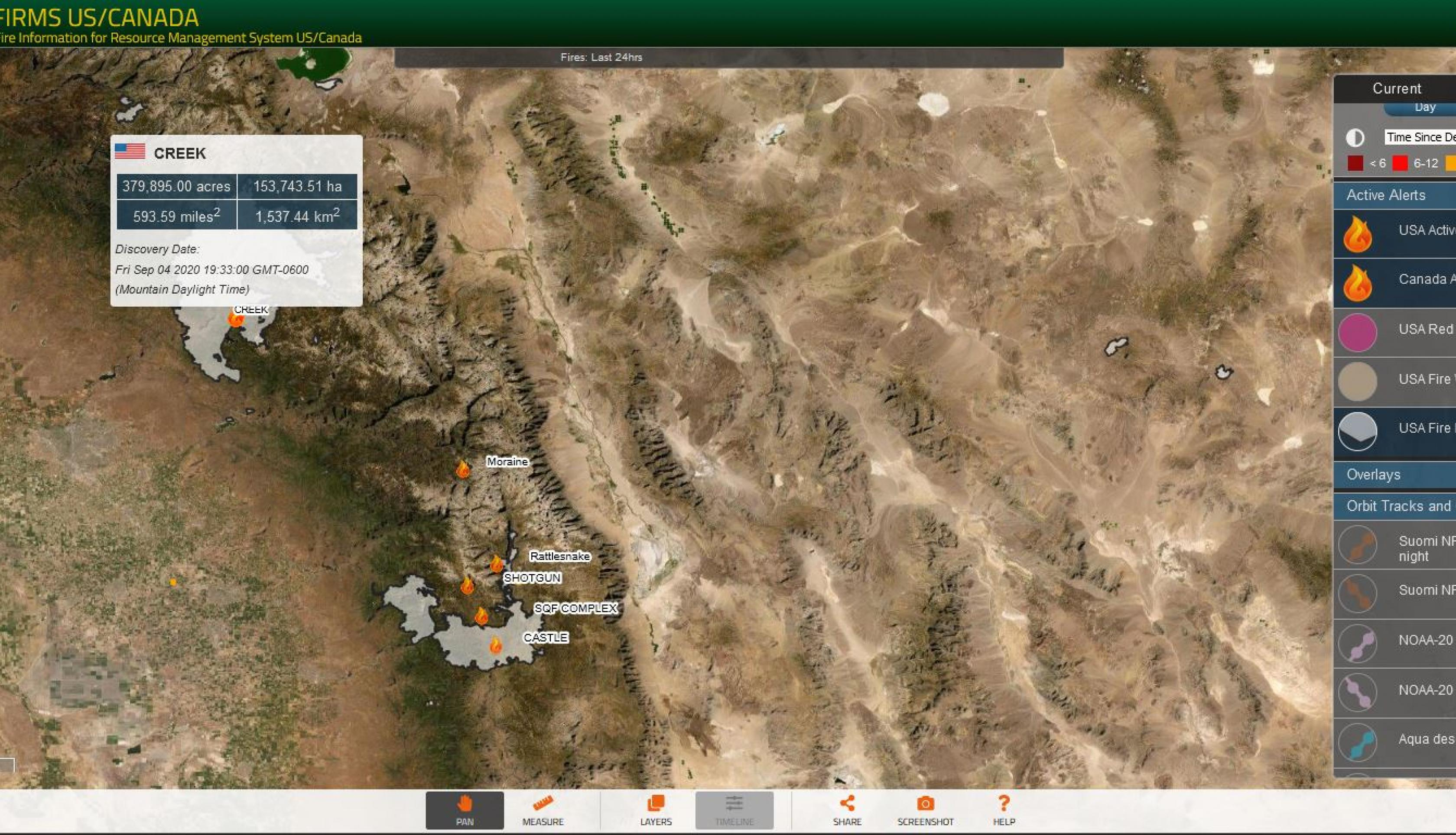 A screenshot of the FIRMS US/Canada fire map highlighting California's Creek Fire in September 2020, from the U.S. large incident locations layer (sourced from the Integrated Reporting of Wildland Fire and Information (IRWIN) and the USA fire perimeter layer (from the National Incident Feature Service (NIFS)). Credits: NASA