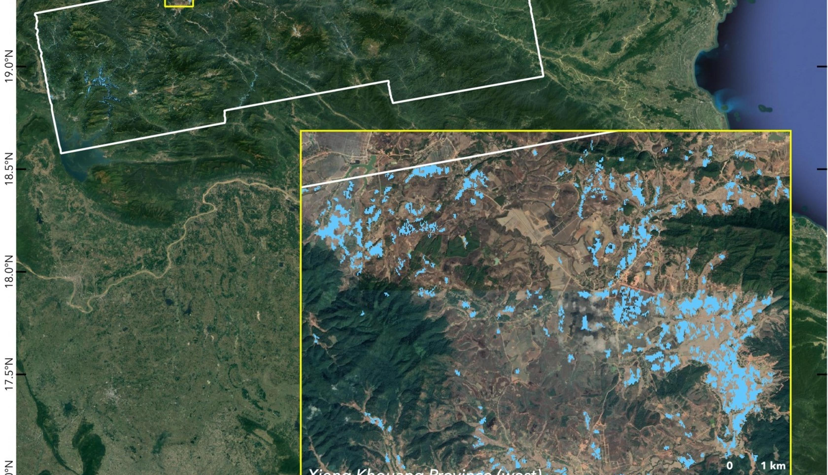 This preliminary Flood Proxy Map (FPM) is derived from SAR data of Copernicus Sentinel-1 mission, operated by ESA, acquired before (June 8) and during (June 14) the flood event. The white polygon indicates the map extents. The light blue pixels of 30 m in size indicate areas likely flooded in Xieng Khouang Province, Laos, due to heavy rains brought by Tropical Storm Koguma. The map may be less reliable over urban and vegetated areas. Credits: the Earth Observatory of Singapore (EOS)/NASA-JPL/Caltech. Contai