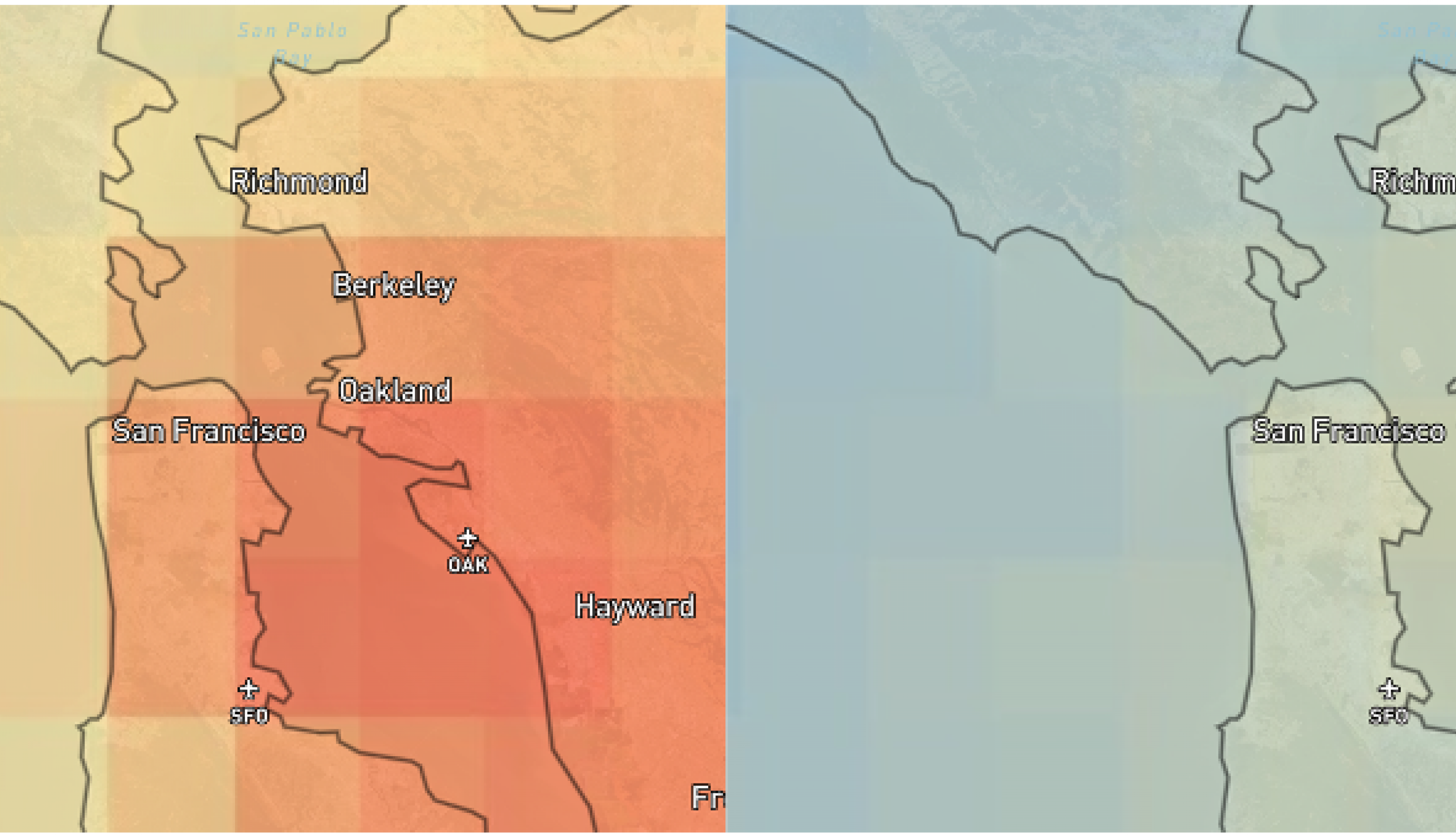 Side by side satellite imagery showing Nitrogen Dioxide levels over a map of San Francisco