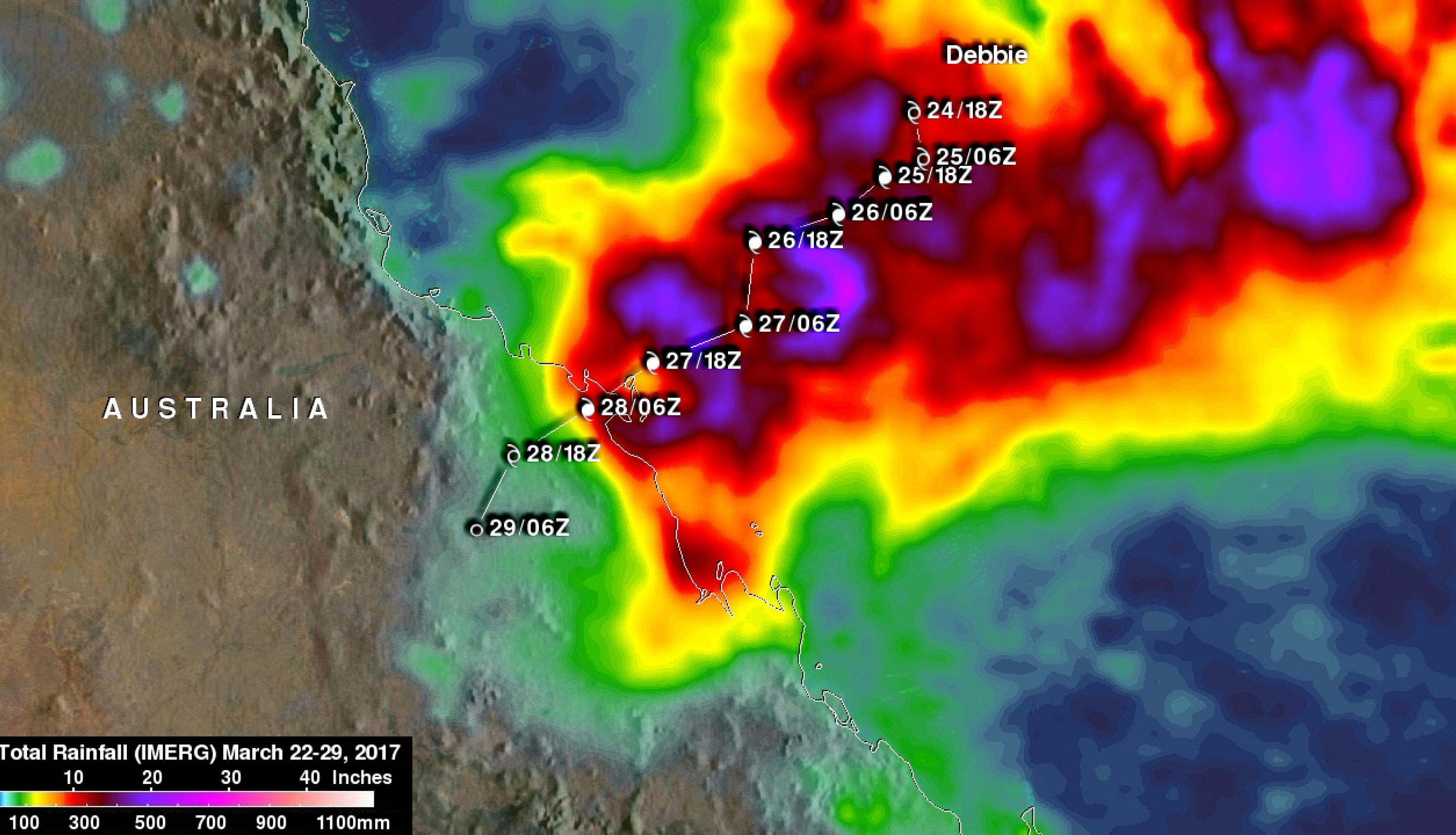 Animated 3D look at precipitation from tropical cyclone Debbie.