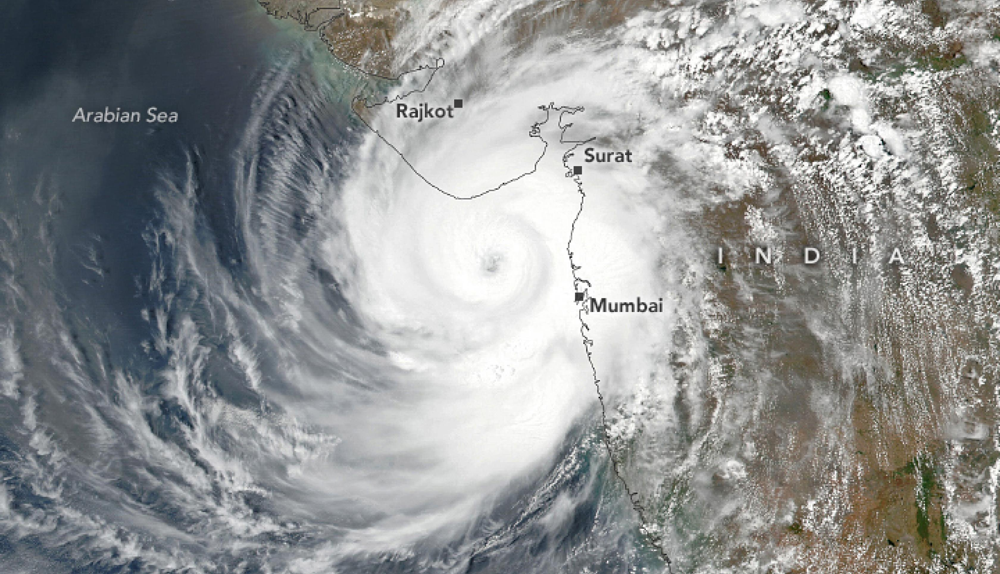 The Visible Infrared Imaging Radiometer Suite (VIIRS) on the NASA-NOAA Suomi NPP satellite acquired this natural-color image of the storm a few hours before it made landfall between Porbandar and Mahuva. The image uses VIIRS data from NASA EOSDIS LANCE, GIBS/Worldview, and the Suomi National Polar-orbiting Partnership Credits: NASA/Lauren Dauphin