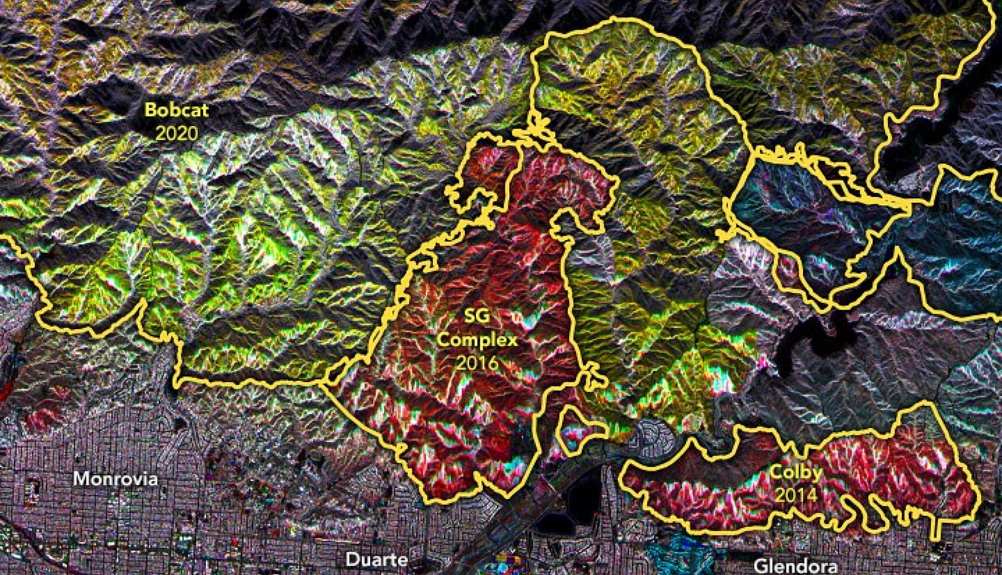 A mosaic of SAR data showing forest fire damage and regrowth over time from various major fire complexes in California. Credits: NASA Earth Observatory