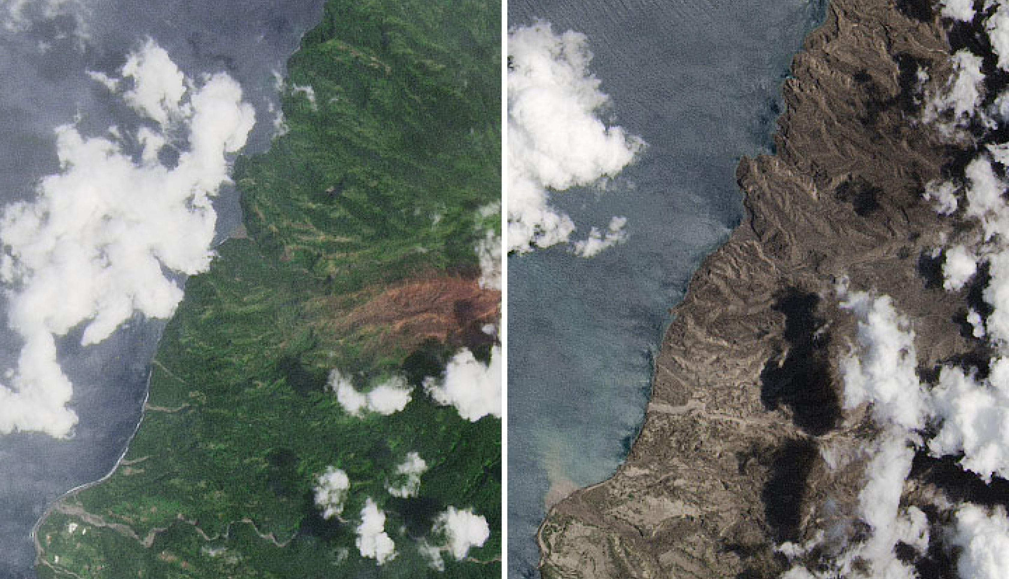 Images acquired by the Operational Land Imager (OLI) on Landsat 8, showing the northwestern part of the island before (March 24, 2021) and after (April 25, 2021) two weeks of powerful eruptions and ashfalls. Credits: NASA Earth Observatory